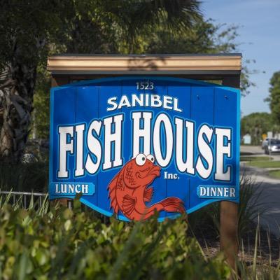 Sanibel Fish House Road Sign